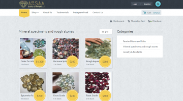 Arssa Gems E-commerce Site for GemStones